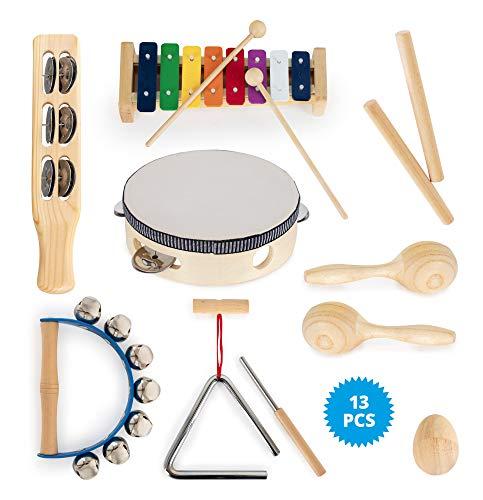Classic Cantabile - Set de percusión infantil (13 piezas, madera y metal)
