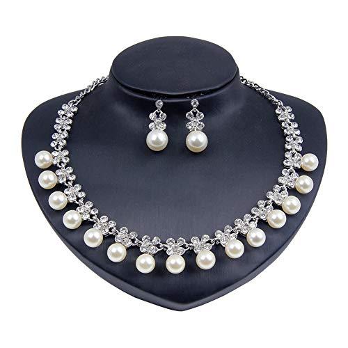 Yddxy Conjunto de Pendientes de Collar de Perlas para Mujer Conjunto de joyería de aleación de Diamantes de imitación chapados en Oro de Boda de Moda (Pendiente + Collar),Plata