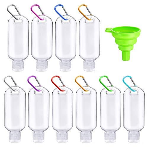 10 Piezas Botellas de Viaje Portátiles,Viaje con Mosquetón,Botellas de Viaje portátiles de 60ml,Desinfectante de Manos,Vacías Botes de Plástico,Botes Viaje,Botellas de Viaje Portátiles(A)