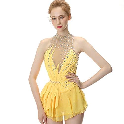 BAOLUO-SAOLUO gele figuur schaatsen jurk, mouwloos schaatsen rok, Spandex competitie jurken, coltrui kraag mesh rok