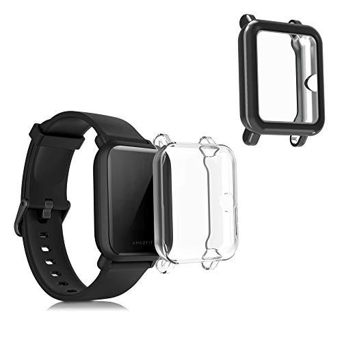 kwmobile 2 Carcasas para Pulsera Actividad - Set de 2X Funda Compatible con Xiaomi Amazfit Bip/Bip Lite - Transparente/Negro