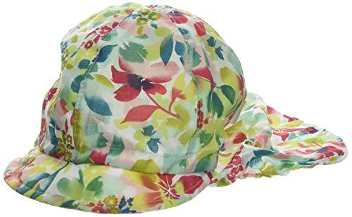 maximo Mädchen Schildmütze, Nackenschutzmütze Mütze, Mehrfarbig (Jasmingrün-Rot-Blumen 35), 53