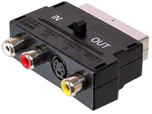 Premium Cord - Adaptador de euroconector a 3 Conectores RCA y S-Video...