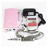 SHUHANG Archivos de uñas eléctricos Máquina de Taladro de uñas Recargables Removedor de uñas de acrílico portátil 20000 RPM Anillo de Lijado (Color : Pink, Size : 24.5x18.0x6.8cm)