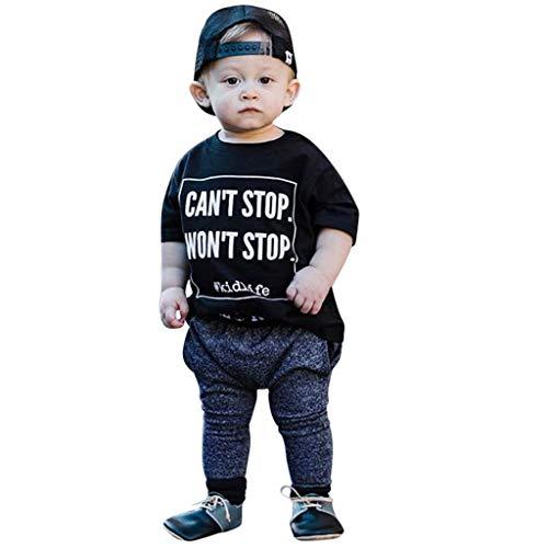 BeautyTop BeautyTop?v 1-6 JahreToddler Kinder Sommer Kleidungset Zweiteiliges Baby Jungen Rundhals Kurzarm Buchstabe Drucken Top + Einfarbig Hosen 2Pcs Kinder Kurzärmliges Outfits Set Leichte Kleidung