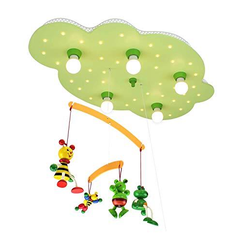 Elobra plafondlamp wolk met mobiele 'Bijen en kikker', lindegroen 125953