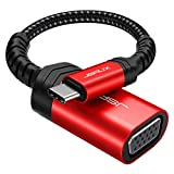 USB C to VGA Adapter, JSAUX USB Type-C to VGA Adapter Male to Female Converter Thunderbolt 3 Compatible for MacBook Pro 2019 2018, Dell XPS, Surface Book 2, Samsung Galaxy S21 S20 S10 - Red