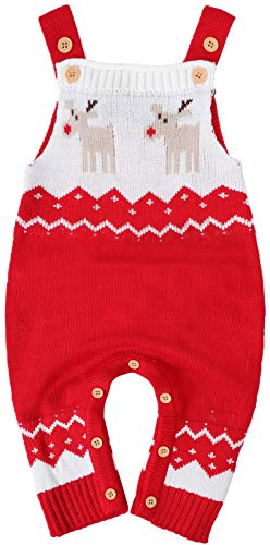 MOMBEBE COSLAND Baby Jungen Weihnachten Schlinge Strick Strampler, 18-24 Monate, Rot