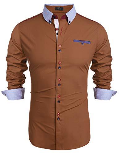 COOFANDY Hemd Herren Langarm Freizeithemd Businesshemd Kentkragen Regular Fit Knopfleiste aus Baumwollemischung Einfarbig Hemden für Männer (XL, Braun)