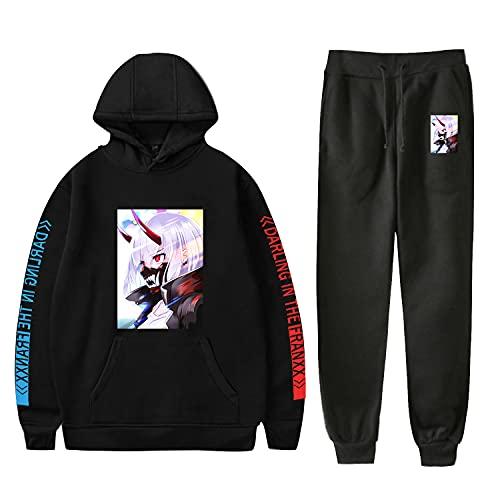 YZJYB Darling in The FRANXX Anime Zero Two Sudadera Estampado con Capucha + Pantalones con Cordón Ropa Deportiva para Hombre Conjunto De Chándal,Negro,X~Small
