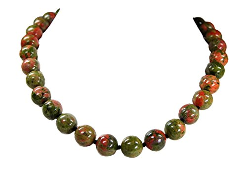 Beautiful necklace made of Unakite spherical shape D-12 mm L-46cm