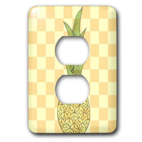 Duplex Receptacle Outlet Wallplate 1 Gang Outlet Covers Tropical Pineapple Fruits Yellow Checkered Art Classic Beadboard Wall Plate Decorator Unbreakable Faceplate