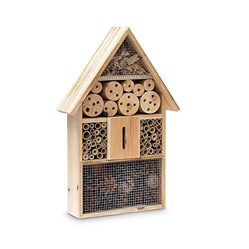 hlyp Wooden Insect Hotel, Natural Wood Insect House-Garden Shelter, Bamboo Nest Habitat-bee Butterfly Ladybug Insect
