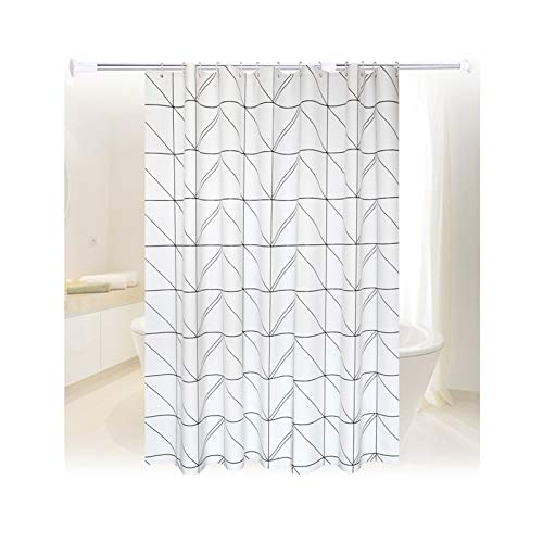 Rubyia Duschvorhang 120x180, Gitter Motiv Shower Curtains mit Duschvorhangringen, Peva, Weiß