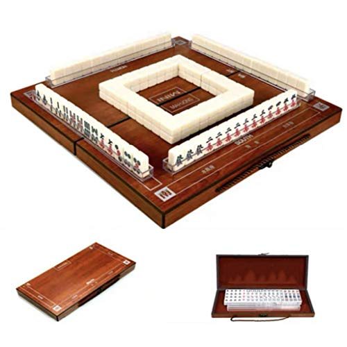 Mini Travel Mah Jong, Brettspiel, 144 Fliesen Chinese Traditional Mahjong Spiele mit Klapp Mahjong Tisch, bewegliche Größe und Dünner Fliese Spiele (Color : Ivory White)