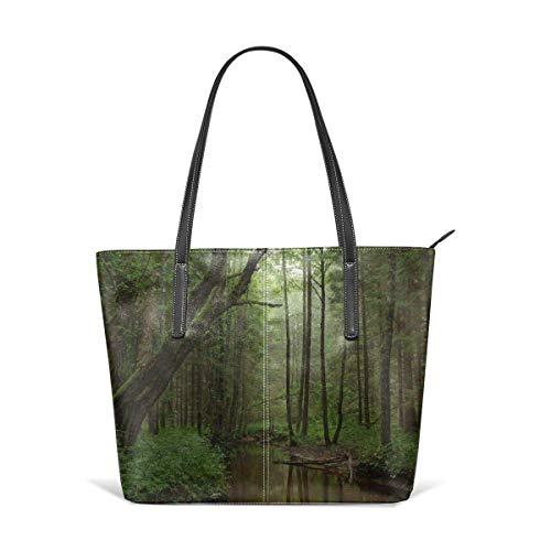 Bolsos de mano de mujer Women's Soft Leather Tote Shoulder Bag Virgin Forest Big Capacity Casual Portable Handbag Purses Work Travel BagShopping Casual Daypack