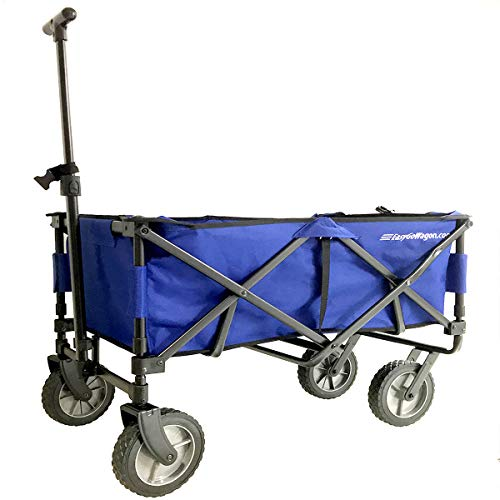 EasyGoWagon 2.0 - Blue Folding Wagon - Collapsible Heavy Duty Utility Pull Wagon - Fits in Trunk of Standard Car