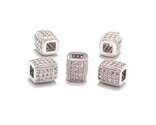 AD Beads Zircon Pave Rhinestones Rectangular Square Beads for Bracelet Connector Spacer Beads (5 Pcs Clear on Silver Tube Rectangular Beads (6x7mm))