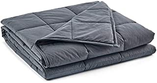 RelaxBlanket Weighted Blanket | 60''x80'',15lbs | for Individual Between 140-170 lbs | Premium Cotton Material with Glass Beads | Dark Grey