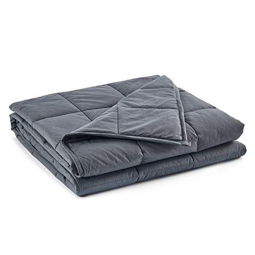 RelaxBlanket Manta pesada tamaño king | 200 x 220 cm, 25 libras | para individual o doble | Material de algodón premium con cuentas de vidrio | Gris oscuro