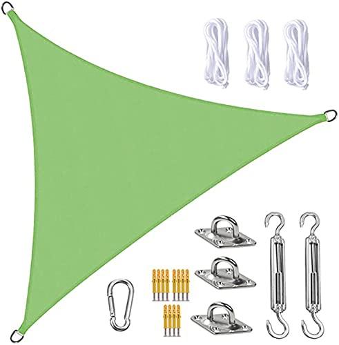 Tela Toldo Sun Shade Sail Canopy Triangle UV Block Impermeable Sun Shade Toldo con Kit De Fijación para Jardín Patio Piscina área De Barbacoa Verde(Size:5X5X5m/16.4X16.4X16.4ft)
