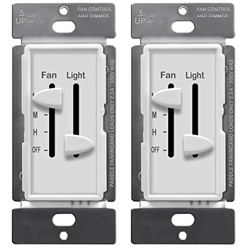 ENERLITES 3 Speed Ceiling Fan Control and Dimmer Light...
