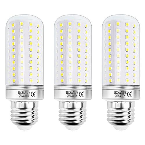 HZSANUE LED Lampadine Mais 26W, E27 Vite Edison Lampadine, Bianco Naturale 4000K, 2600LM, 200W Lampadine Incandescenza Equivalenti, Non Dimmerabile, Confezione da 3