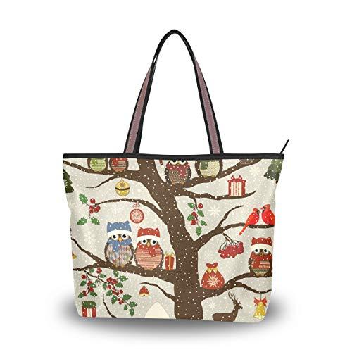 Ahomy Damen Strandtasche, Weihnachtsvögel, Eulen und Baum, große Schulter-Handtasche für Damen, Mehrfarbig - multi - Größe: L