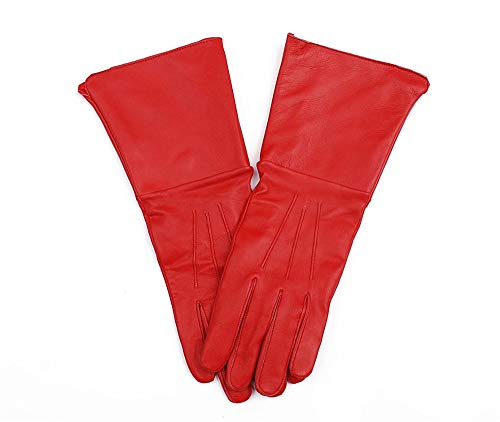 Medieval Gauntlet Leather Cosplay Gloves Long Arm Cuff (Small, Red)