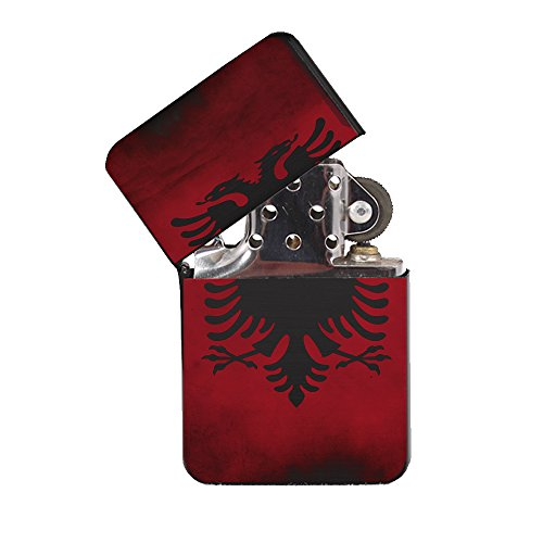 Albanian Flag - Black Lighter Windproof Flip-Top Refillable with tin Gift Box