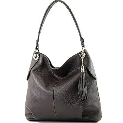 modamoda de - T185 - ital. Damen Schultertasche aus Leder, Farbe:Dark Chocolate