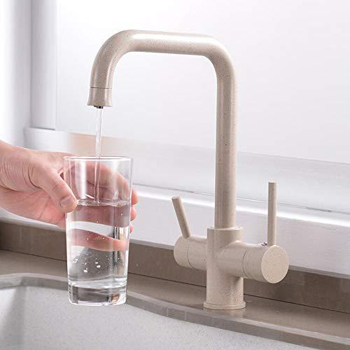 FWZQ, rubinetto da cucina a 3 vie, per filtro dell'acqua, girevole a 360°, rubinetto da cucina con 2 leve, miscelatore per lavello 3 in 1, rubinetto per acqua potabile in ottone, granito beige