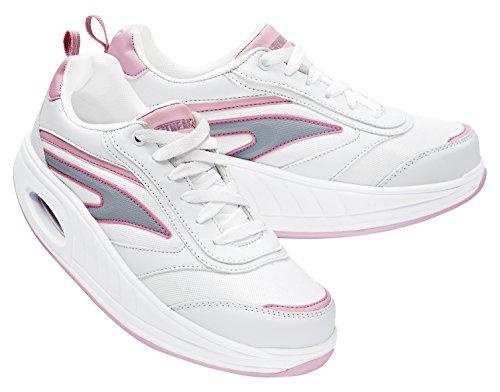 Fitness Step 050002326201086, Zapatillas tonificadoras Mujer, Blanco/Rosa, 40 EU