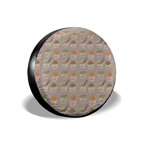 MODORSAN Egg Cup Noodle Ramen - Cubierta Universal para Llantas de Repuesto, Protectores de Llantas Impermeables a Prueba de Polvo para Jeep, remolques, RV, SUV y Camiones, 14 Pulgadas