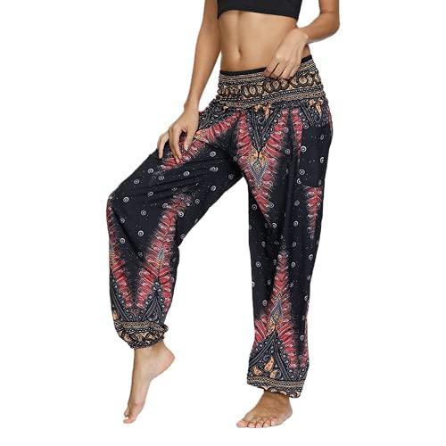 QTJY Pantalones Sueltos Bohemios de Moda para Mujer Pantalones de Yoga Hippie Casuales Pantalones Sueltos de Aladdin Harem Pantalones de Yoga A L