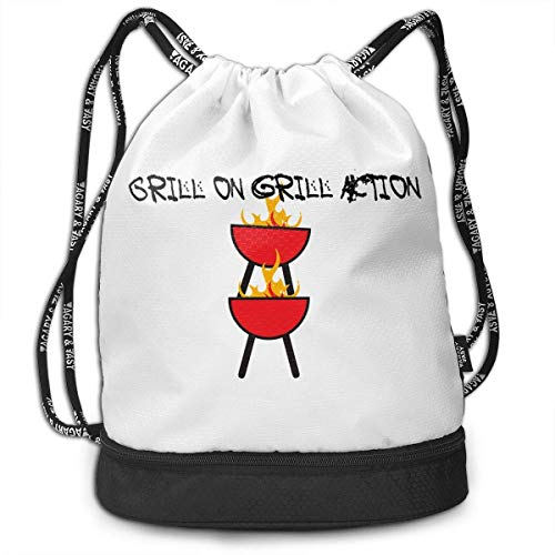 CheChenDengH Kordelzug Gymsack Hot! Grill On Grill Action Print Drawstring Bags - Simple Bundle Pocket Backpack
