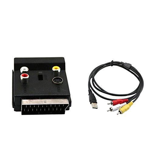 B Blesiya Euroconector a 3 Tomas RCA Y Toma S-video de 4 Pines Interno S-video Externo, Audio Y Video Estéreo/Mono + Cable Adaptador de USB a RCA