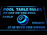 ADVPRO Pool Table Rules No Sex Unless The Owner Eight 8 Ball Room LED Neon Sign Blue 24 x 16 Inches st4s64-s234-b