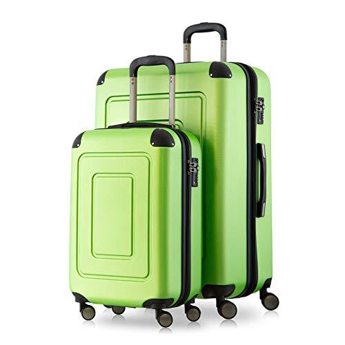 Happy Trolley - 2er Koffer-Set Trolley-Set Rollkoffer Hartschalen-Koffer Reisekoffer Lugano sehr leicht, TSA, (S+XL), Grün