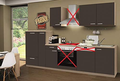 Menke Küchenzeile 300 cm Lava ohne Geräte mit Spüle & Blende - Smart Easy Lava
