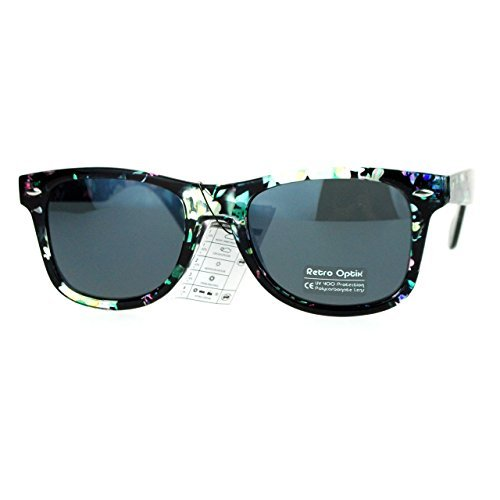 Floral Flower Sunglasses Classic Designer Fashion Wayfarer Shades Green Multicolor