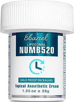 Ebanel 5% Lidocaine Topical Numbing Cream Maximum Strength 1.35 Oz Numb 520 Pain Relief Cream Anesthetic Cream Infused with Aloe Vera Vitamin E Lecithin Allantoin Secured with Child Resistant Cap