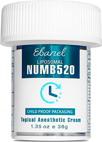 Ebanel 5% Lidocaine Topical Numbing Cream Maximum Strength 1.35 Oz, Numb 520 Pain Relief Cream Anesthetic Cream Infused with Aloe Vera, Vitamin E, Lecithin, Allantoin, Secured with Child Resistant Cap