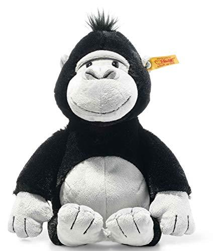 Steiff 069116 Original Plüschtier Bongy Gorilla, Soft Cuddly Friends Kuscheltier ca. 30 cm, Markenplüsch mit Knopf im Ohr, Schmusefreund für Babys von Geburt an, schwarz-hellgrau