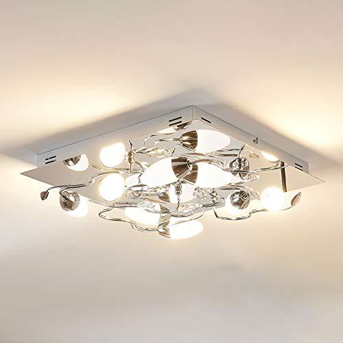 Lampenwelt LED Deckenleuchte 'Mischa' dimmbar (Modern) in Chrom aus Metall u.a. für Wohnzimmer & Esszimmer (8 flammig, A+, inkl. Leuchtmittel) - Lampe, LED-Deckenlampe, Deckenlampe, Wohnzimmerlampe