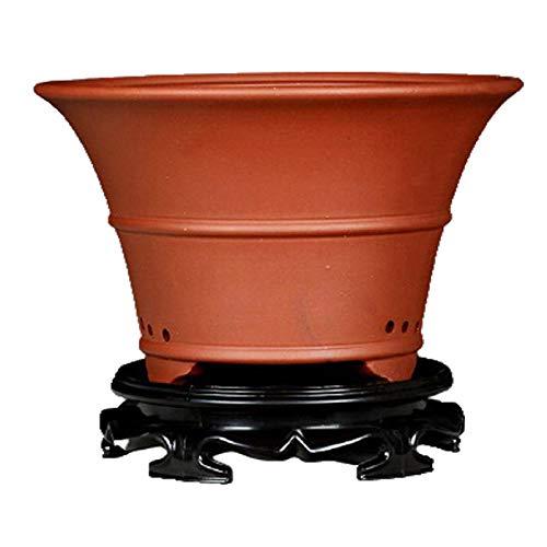 Rojo Macetas para Bonsai Ceramica con Orificio de Drenaje Hecho a Mano Macetero Ceramica Grande para Flores O Cactus Ø 24.5 cm x H 19.5 cm