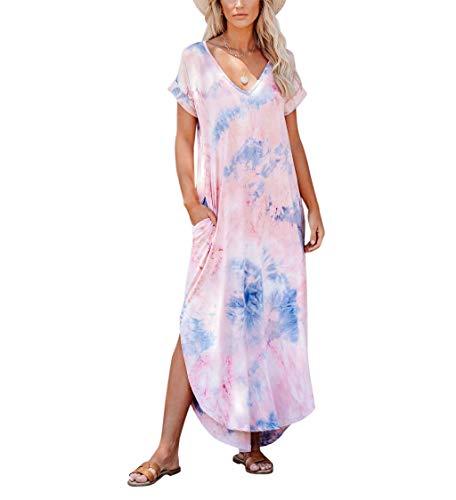 Women's Short Sleeve V Neck Dress Tie Dye Side Split Maxi Dresses with Pockets