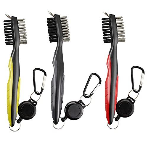 Swetup Set di 3 spazzole da golf, per la pulizia delle mazze da golf, Dual Sided PP e acciaio inox, con moschettone per le superfici della mazza, per la pulizia delle mazze e delle scarpe da golf