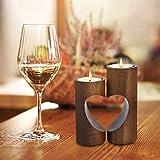 ChasBete Kerzenhalter Holz Teelichthalter Set, Unity Herz Teelicht Kerzenhalter, Romantisch Tischdeko Wohnzimmer - Braun - 4