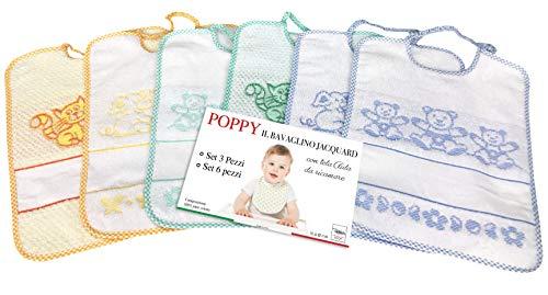 SET BAVAGLINI BAMBINO MASCHIO POPPY © cm. 24x30 bavaglio con elastico e tela AIDA - 6 PEZZI